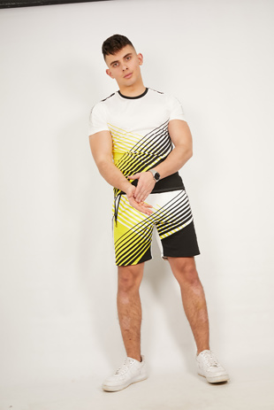 Mens Yellow Contrast Muscle Fit Active Short Set