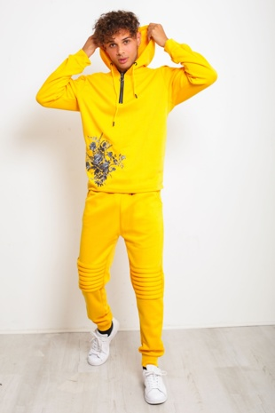 Mens Yellow Floral Embroidered Skinny Fit Biker Tracksuit