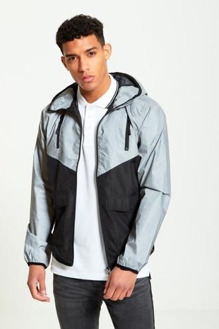 Mens grey reflective panel cagoule jacket