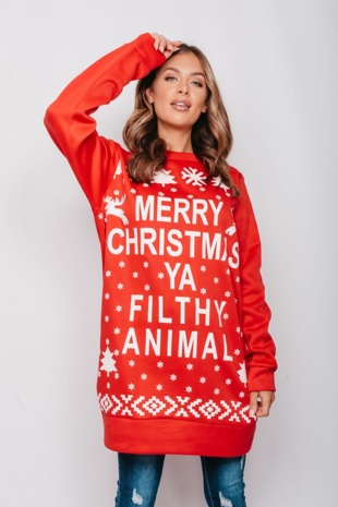 Red Merry Christmas Ya Filthy Animal Jumper Dress