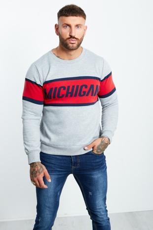 Michigan Contrast Panel Detail Sweatshirt