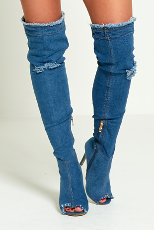 Mid Denim Ripped Thigh Boots