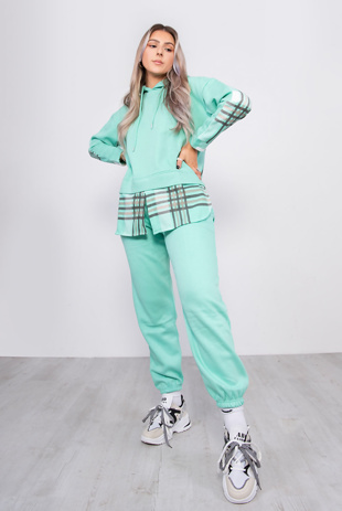 Mint Checked Detail Hoodie And Jogger Lounge Set