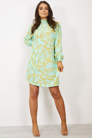 Mint Green High Neck Shift Dress