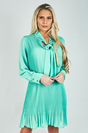 Mint Pleated Bow Shift Dress