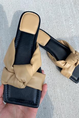 Mocha PU Knot Front Sliders