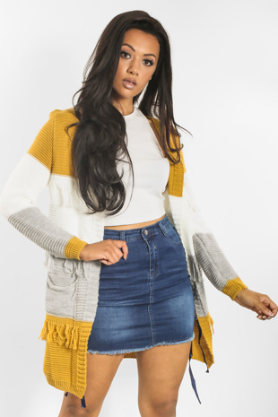 Mustard Cardigan With Tassels