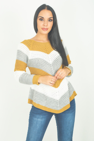 Mustard Chevron Knitted Jumper