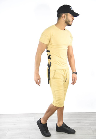 Mustard Lace Up Ribbed T-Shirt And Shorts Set