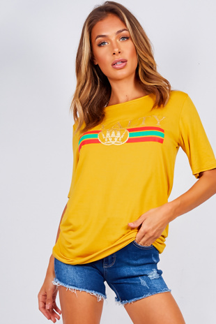 Mustard Royalty Slogan T-Shirt