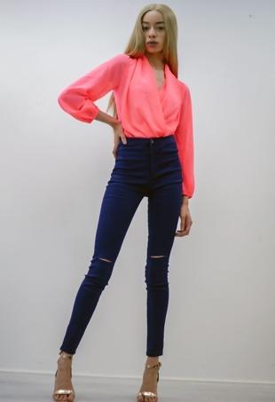 Navy High Waist Knee Rip Skinny Jeans