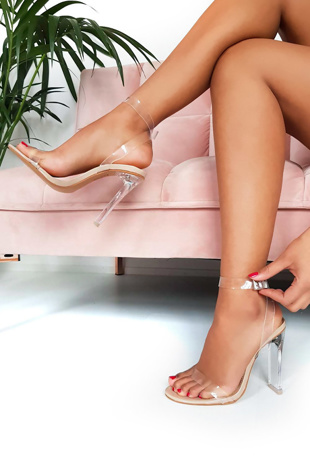 Nude Strappy Barely There Perspex Heels