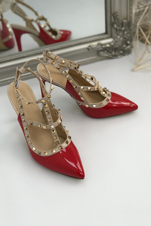 Red Multi Strap T-Bar Studded Court Heels