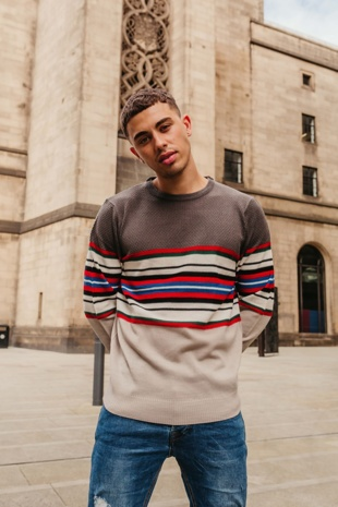 Mens Grey Multi Stripe Panel Long Sleeve Jumper