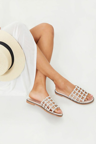 Nude Studded Caged Slip-ons