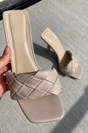 Nude Woven Front Strap Square Toe Heel