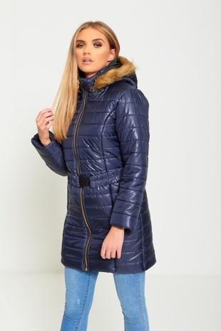 Navy Belted Hooded Puffer Jacket