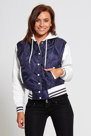 Navy Quilted Bomber Varsity Jacket