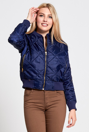 Navy Quilted Bubble Bomber Jacket