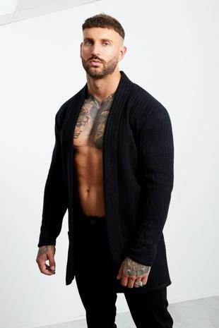 Navy Thick Knit Ribbed Cardigan