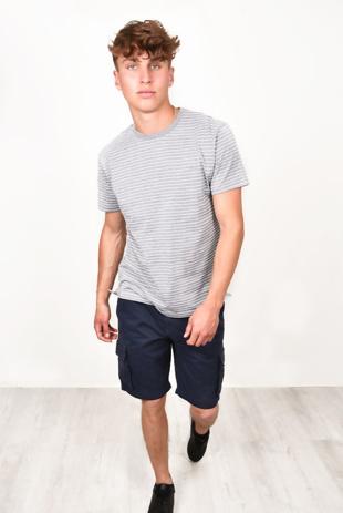 Mens Short Sleeve Stripe T-Shirt Ecru/Thin Navy