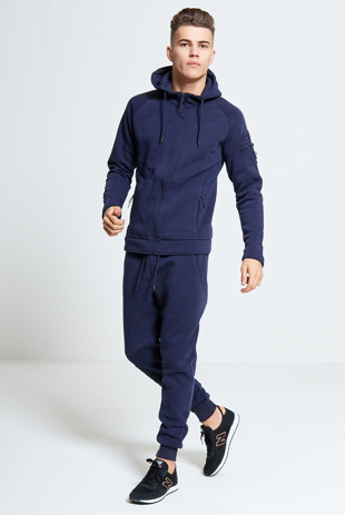 Mens Navy Zip Through Hooded Tracksuit