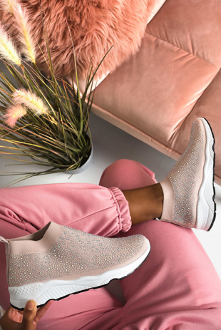 Nude Diamante Embellished Sock Trainers