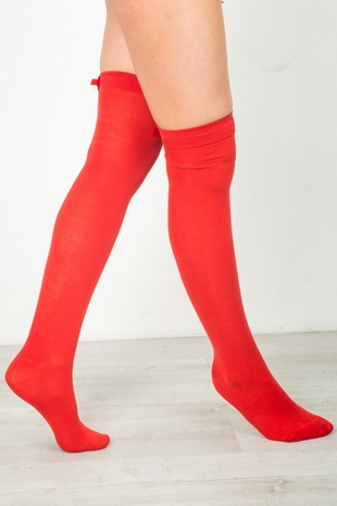 Red Socks With Bow Detail