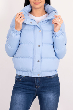 Blue Hooded Zip Up Puffer Jacket