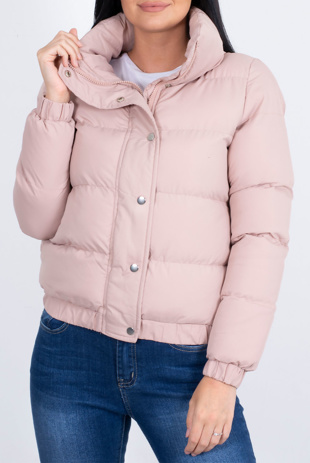 Dusty Hooded Zip Up Puffer Jacket