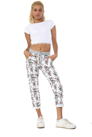 Off White with Rose Floral Print Trousers