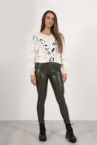 Khaki Faux Croc Leather Zip Leggings