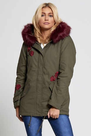 Khaki Oversized Hood Coloured Wine Fur Parka Jacket Coat