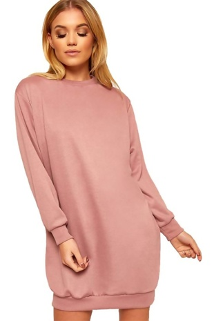 Pink Oversized Sweatshirt Dress