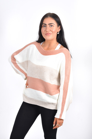 Pink and black stripe dolman sleeve knit jumper