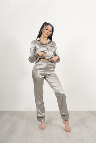 Grey Piping Detail Long Sleeve Satin Pyjama Set