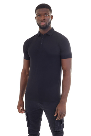 Men Black Plain Muscle Fit Short Sleeve Polo Shirt