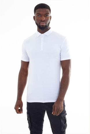 Men White Plain Muscle Fit Short Sleeve Polo Shirt