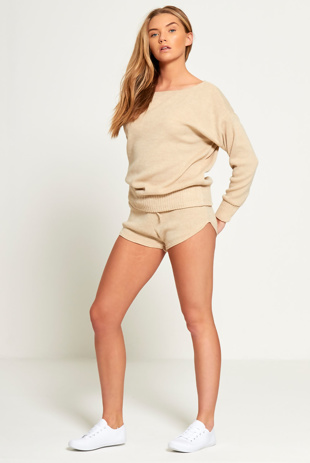 Beige Marl Knit Jumper And Short Set