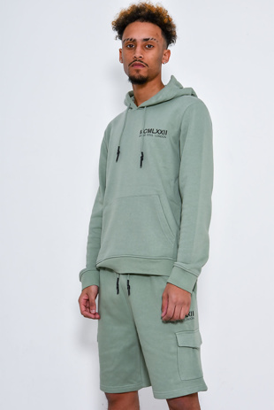 Men Printed Hoodie And Short Tracksuit