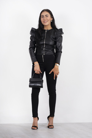 Black puff sleeve zip faux leather jacket