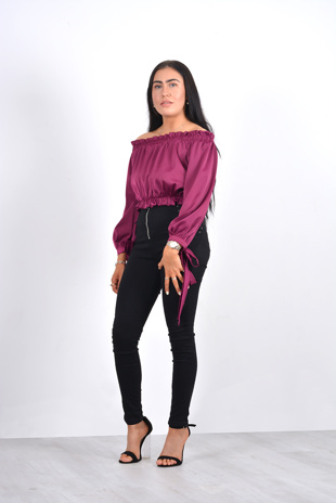 Purple off the shoulder rushed tie detail blouse