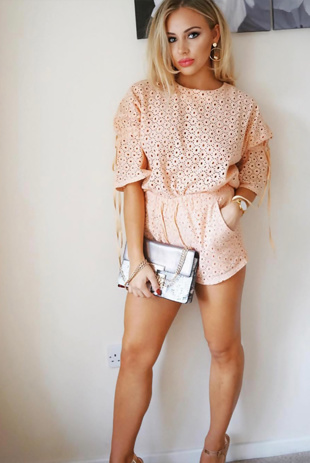 Peach Babydoll Crochet Lace Co-Ord Set