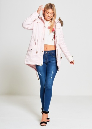 Pink Allure Fur Trimmed Fishtail Parka