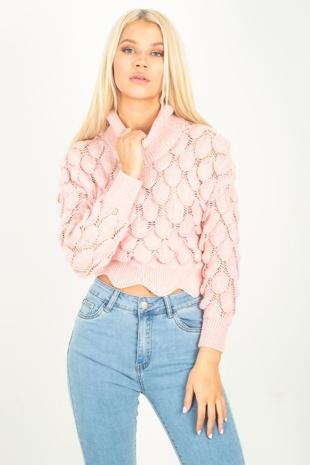 Pink Chunky Bobble Knit Jumper