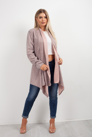 Pink Marl Waterfall Cardigan