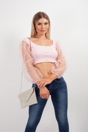 Pink Mesh Dot Puff Sleeve Crop Top