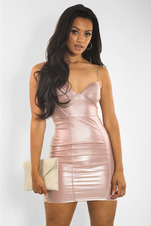Pink PU Glitter Bralet Bodycon Mini Dress