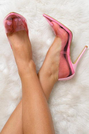 Pink Perspex Pointed Toe Stiletto Heels