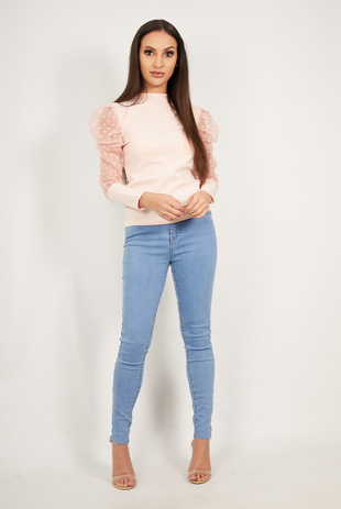 Pink Polka Dot Puff Sleeve High Neck Top